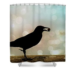 Shower Curtain featuring the photograph Crow With Pistachio by Benanne Stiens