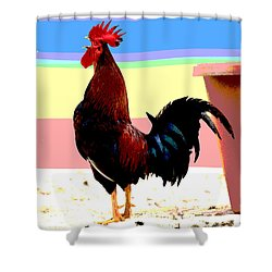 Shower Curtain featuring the mixed media Crowing Cock by Charles Shoup