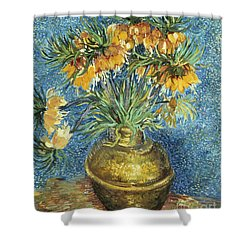 Crown Imperial Fritillaries In A Copper Vase Shower Curtain by Vincent Van Gogh