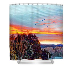 Crows Before Dawn El Valle New Mexico Shower Curtain