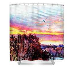 Crows Over Pre Dawn El Valle Shower Curtain