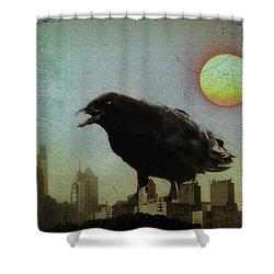 Crowzilla Shower Curtain by Bill Cannon