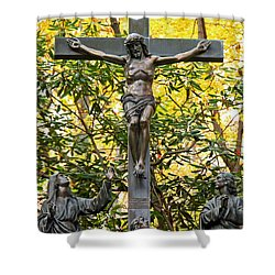 Crucifixion Shower Curtain by Mitch Cat