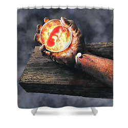 Crucifixion Of Reason Shower Curtain by Dave Luebbert