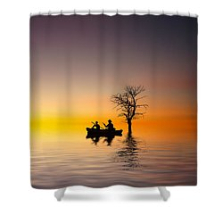 Shower Curtain featuring the pyrography Cruise by Bess Hamiti