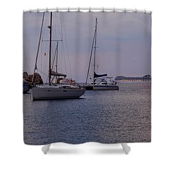 Cruise Liner Passing Shower Curtain