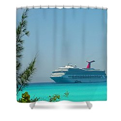 Cruise Ship At Half Moon Cay Shower Curtain