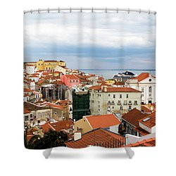 Cruise Ship Peeks Shower Curtain by Lorraine Devon Wilke