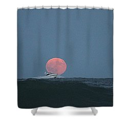 Cruising On A Wave During Harvest Moon Shower Curtain