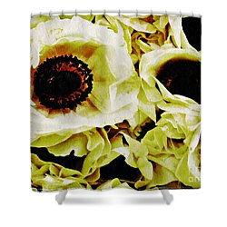 Shower Curtain featuring the photograph Crumpled White Poppies by Sarah Loft