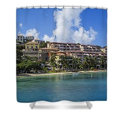 Shower Curtain featuring the photograph Cruz Bay, St. John by Adam Romanowicz
