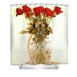 Crystal And Red Roses Shower Curtain