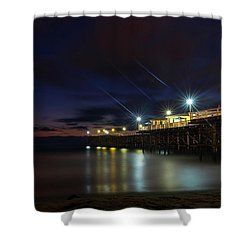 Shower Curtain featuring the photograph Crystal Beach Pier Blue Hour  by James Sage