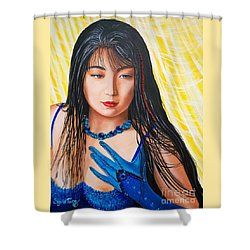Crystal Blue China Girl Shower Curtain