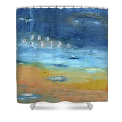 Shower Curtain featuring the painting Crystal Deep Waters by Michal Mitak Mahgerefteh