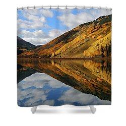 Crystal Lake Autumn Reflection Shower Curtain