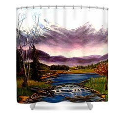 Shower Curtain featuring the painting Crystal Lake With Snow Capped Mountains by Kimberlee Baxter