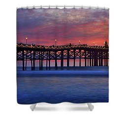 Crystal Pier In Pacific Beach Decorated With Christmas Lights Shower Curtain