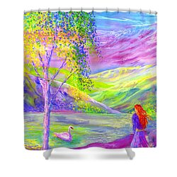 Shower Curtain featuring the painting Crystal Pond, Silver Birch Tree And Swan by Jane Small