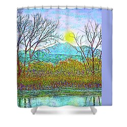 Crystalline Twilight Reflections - Boulder County Colorado Shower Curtain