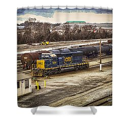 Shower Curtain featuring the photograph Csx Rail Yard Hdr by Melissa Messick