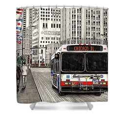 Cta Bus On Michigan Avenue Shower Curtain