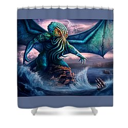 Cthulhu Shower Curtain by Anthony Christou