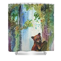 Shower Curtain featuring the painting Cub Bear Climbing by Christy Freeman