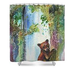 Cub Bear Climbing Shower Curtain