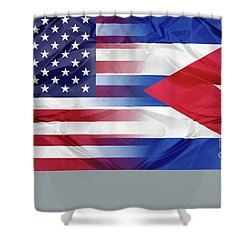 Cuba And Usa Flags Shower Curtain