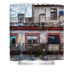 Shower Curtain featuring the photograph Cuban Woman At Calle Bernaza Havana Cuba by Charles Harden