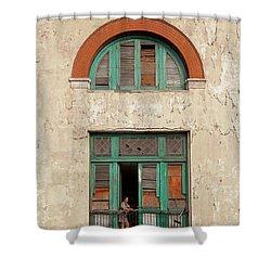 Shower Curtain featuring the photograph Cuban Woman On San Pedro Balcony Havana Cuba by Charles Harden