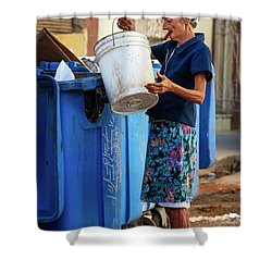 Shower Curtain featuring the photograph Cuban Woman With Cigar by Joan Carroll