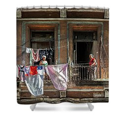 Shower Curtain featuring the photograph Cuban Women Hanging Laundry In Havana Cuba by Charles Harden