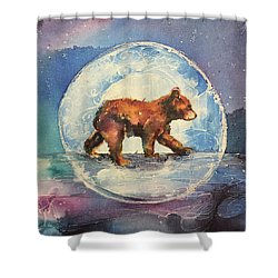 Shower Curtain featuring the painting Cubbie Bear by Christy Freeman