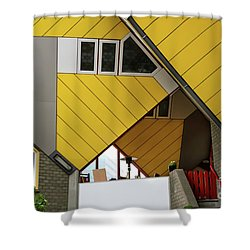 Shower Curtain featuring the photograph Cube Houses Detail In Rotterdam by RicardMN Photography