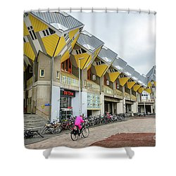 Shower Curtain featuring the photograph Cube Houses In Rotterdam by RicardMN Photography