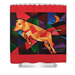 Cubism Cow Shower Curtain
