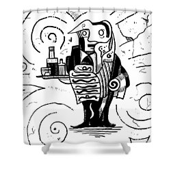 Cubist Waiter Shower Curtain