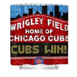 Cubs Win Wrigley Field Chicago Illinois Recycled Vintage License Plate Baseball Team Art Shower Curtain