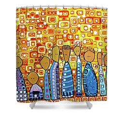 Shower Curtain featuring the painting cue by Donna Howard