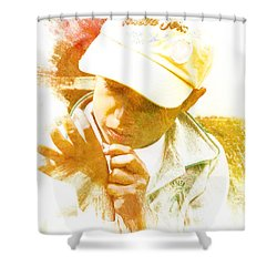 Shower Curtain featuring the photograph Cuenca Kid 902 - Adinea by Al Bourassa