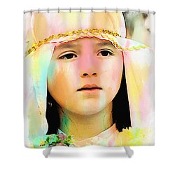 Shower Curtain featuring the photograph Cuenca Kids 899 by Al Bourassa