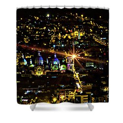 Shower Curtain featuring the photograph Cuenca's Historic District At Night by Al Bourassa