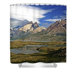 Cuernos Del Pain And Almirante Nieto In Patagonia Shower Curtain