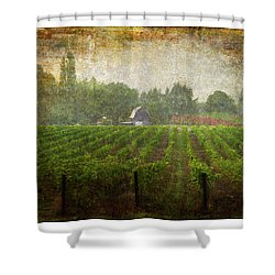 Cultivating A Chardonnay Shower Curtain by Jeffrey Jensen