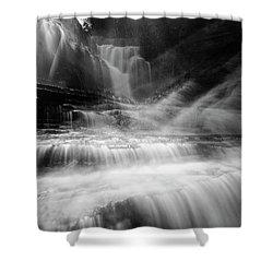 Cummins Falls In Black And White Shower Curtain