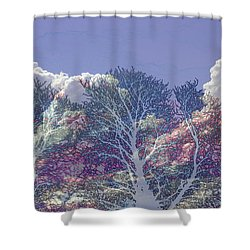Shower Curtain featuring the photograph Cumulus And Trees by Nareeta Martin