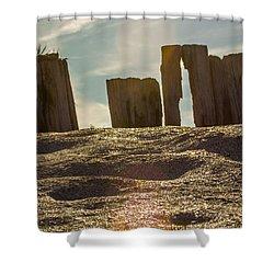 Cunnigar Beach Wooden Barrier Shower Curtain