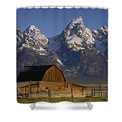 Shower Curtain featuring the photograph Cunningham Cabin In Front Of Grand by Pete Oxford